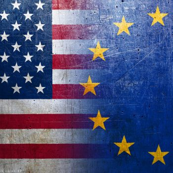 European Union and United States flags on the grunge metal backg