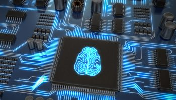 Artificial intelligence electronic circuit. Microchip with glowi